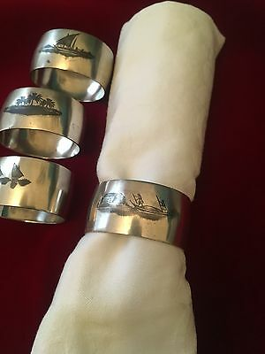 ANTIQUE Set of 4 SILVER NIELLO Napkin Ring / Serviette Holder