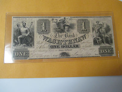 1837 $1 The Bank Of Washtenaw Ann Arbor, Michigan Unc