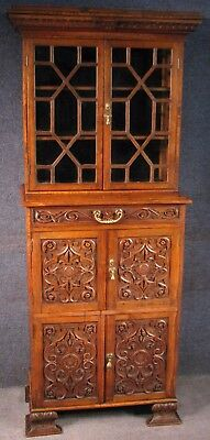 Victorian Oak Astragal Glazed Cabinet / Bookcase On Heavily Carved Cupboard Base