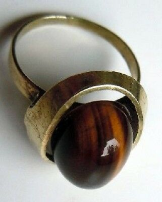 FABERGE Antique Imperial RUSSIAN GOLD RING with tiger's eye stone ,56 Solid GOLD