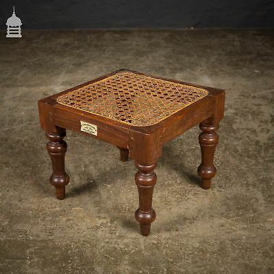 19th C Mahogany Foot Stool with Turned Legs by H. Don Carolis