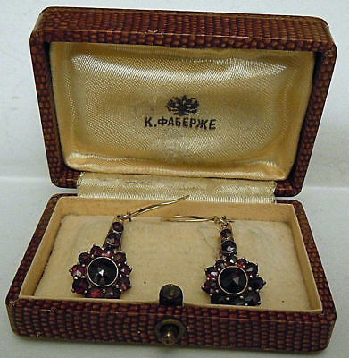 FABERGE Antique Imperial RUSSIAN Earrings with bohemian garnet, 56 solid Gold.