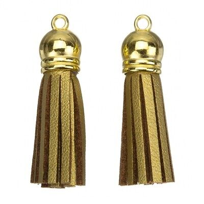 Suede Tassel Charms with Gold Cap Gold/Brown 36mm Pack of 2 (F36/2)