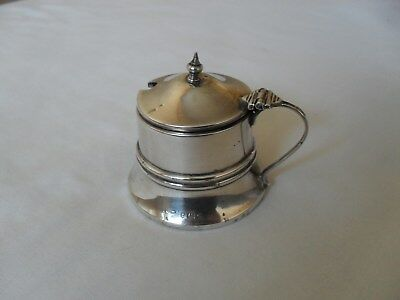 Antique solid silver mustard pot with blue glass liner hallmarked 1931