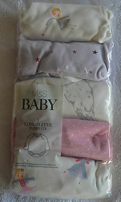 M&S baby girl 5 pack long sleeve bodysuits up to one month fairies white mix New