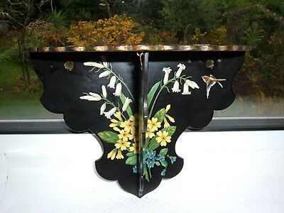 Antique Aesthetic Movement Lacquer Wall Mounting Display Shelf with small repair