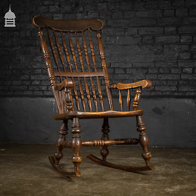19th C Elm Rocking Chair with Turned legs and Back