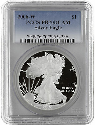 2006-W 1oz Proof Silver American Eagle PR70 PCGS - Blue