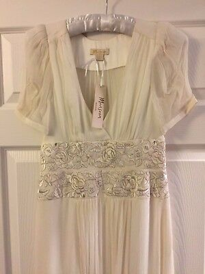 Monsoon Silk Wedding Dress White Gold Silver Size 8 10 BNWT Full length V Neck