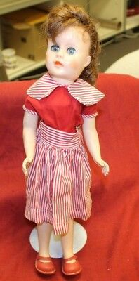 """Vintage Unmarked 17"""" Red Headed Fashion Doll Red/White Dress ~ Red Shoes ~"""