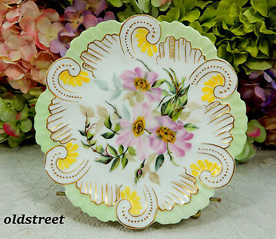 Beautiful Antique Limoges Porcelain Plate ~ Hand Painted ~ Flowers ~ Gold