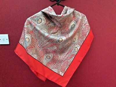 Liberty London. Lovely Classic  Vintage Silk Scarf-'hera ' Vibrant Red