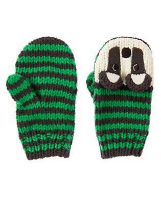Nwt Gymboree King of Cool Green Striped Raccoon Mittens Size 12-24 Months