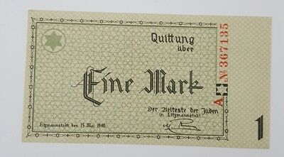 RARE World War 2 - Poland Lodz Litzmannstadt 1 Mark Ghetto Note 15 May 1940 Unc