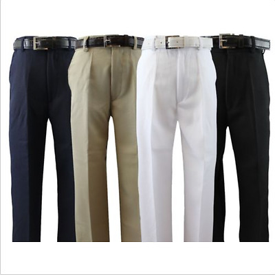 Boys Flat Front Dress Pants With Belt Black White Navy Khaki 2T to 14 Polyester