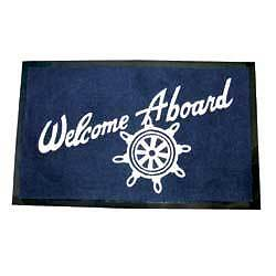 Boat Marine Nautical Welcome Aboard Floor Mat