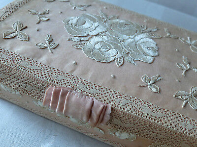 Antique French hand embroidered silk covered boudoir box /handkerchief case