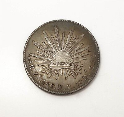 Estate Found 1896 Mexican 8 Reales Silver Coin Zacatecas Mint