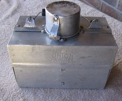 1914 Antique Union Mfg Canton Ohio Metal Sanitary Fold-out Dinner Pail Lunchbox