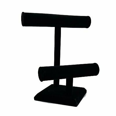 Jewelry Black Tall Double T Display Bar Necklace Bracelet Holder