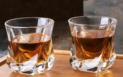 2pcs Twist Whisky Glass Scotch Whiskey Juice Tumbler Rum Liquor Spirits Cocktail