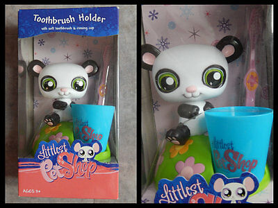 Lps  Littlest Petshop Ensemble Dentaire  Socle Panda +  Brosse A Dents + Verre