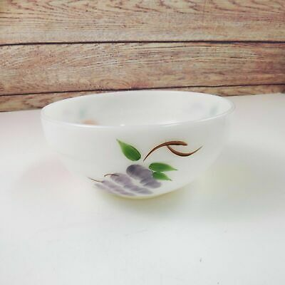 Vintage Fire-King Ware Gay Fad Fruit Hand Painted Milk Glass Mixing Bowl