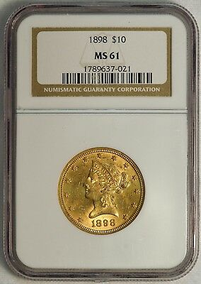 1898 $10 US Liberty Head Gold Eagle Coin (NGC MS 61 MS61) (08378)