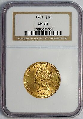 1901 $10 US Liberty Head Gold Eagle Coin (NGC MS 61 MS61) (08374)