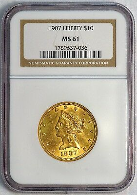 1907 $10 US Liberty Head Gold Eagle Coin (NGC MS 61 MS61) (08373)