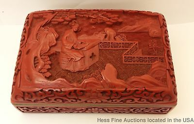 Old Early Republic Carved Chinese Cinnabar High Relief Box Humidor 6X4in