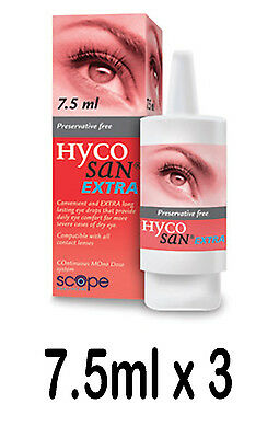 HYCOSAN EXTRA 22½ml Dry Eye Lubricant 7.5ml x3 Preservative Free Eye Drops Scope