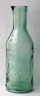 Botella de cristal antigua de leche - The milk protector - 1 litro