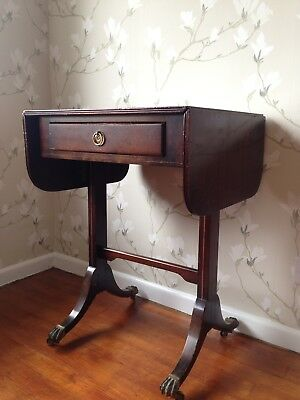 Antique drop leaf single-drawer side table with brass hardware