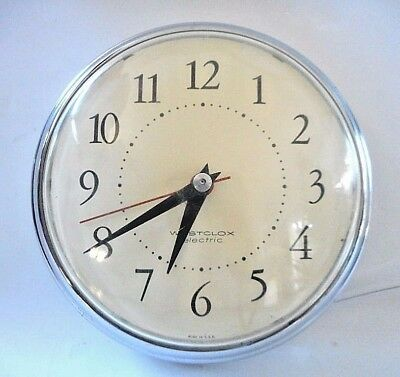 Rare Vintage Retro Westclox Electric Kitchen Wall Clock model S13-G Spice Chrome