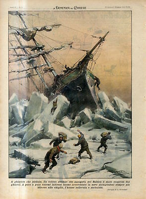 1940 Swedish sailing ship was caught by ice in Baltic sea Antique FOLIO Print