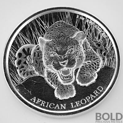 2017 1 oz .999 Silver Republic of Ghana African Leopard Prooflike Coin