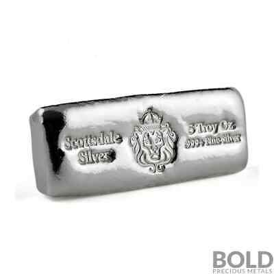 5 oz .999 Silver Cast Bullion Bar by Scottsdale Mint