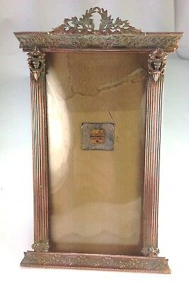 Antique French 1897  Empire Style Dore Bronze Easel Back Picture Frame