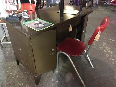Vintage Retro Mid Century Modernist Metal  Desk