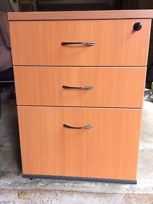 Filing Cabinet Timber  with 3 lockable drawers