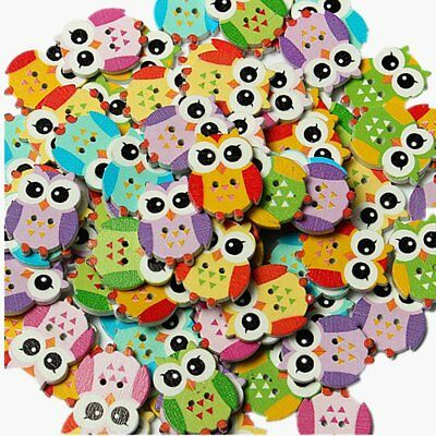 100Pcs Lovely Owl Animal Wooden Button Sewing Scrapbooking DIY Craft 2 Hole I4J4