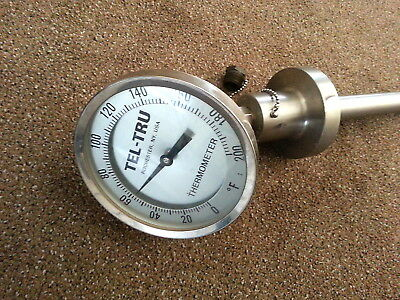 "Tel-Tru thermometer specialized F 200 Stainless industrial very heavy  5"" face"