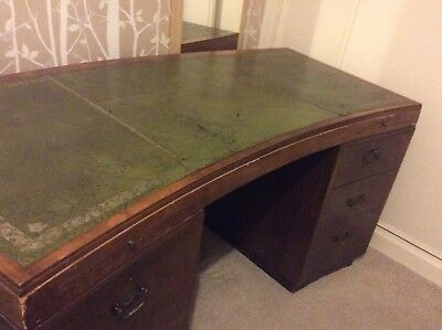 Edwardian Partner Desk, green leather inlay. Unique curved design. Free Delivery