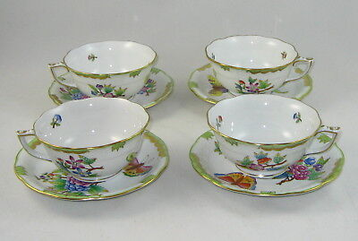 """4 Herend China QUEEN VICTORIA 734/VBO """"FOOTED TEA CUPS & SAUCERS"""""""