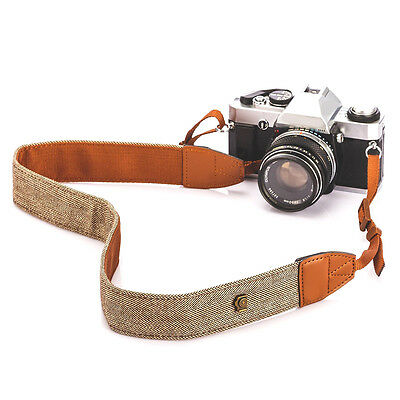 Vintage Classic White and Brown Weave Camera Shoulder Neck Strap Belt Canon DSLR