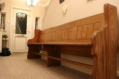 Reclaimed Antique Rustic Welsh Church Pew 10ft Wooden Bench Seat Pitch Pine