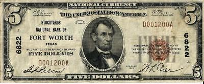1929 Stockyards Bank of Fort Worth Texas National Currency $5 Ch # 6822 Note