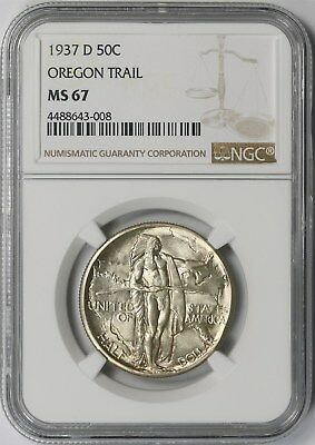 1937-D Oregon Trail 50C NGC MS 67 Early Silver Commemorative Half Dollar