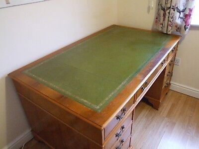 Classic Leather Top Desk & Filing Cabinet